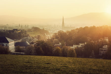 upper austria: Linz panorama at sunrise. Linz, Upper Austria, Austria. Stock Photo