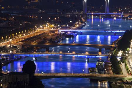 Bridges on Seine River in Rouen. Rouen, Normandy, France 免版税图像