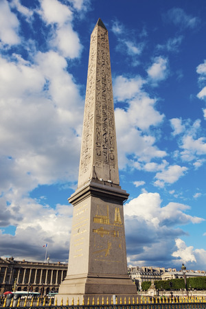 Obelisk of Luxor on Place de la Concorde in Paris in Paris. Paris, France Stock Photo