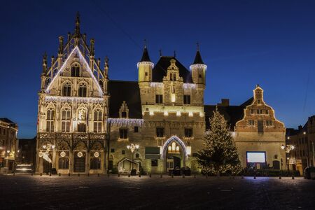 flemish region: Mechelen City Hall at night. Mechelen, Flemish Region, Belgium