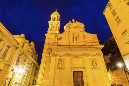 d'azur: Chapelle des Penitents Blancs in Menton. Menton, Provence-Alpes-Cote dAzur, France