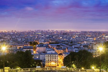 Paris panorama seen from Montmartre at sunrise. Paris, France Stock Photo