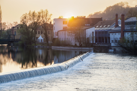 upper austria: Steyr panorama during sunset. Steyr, Upper Austria, Austria. Stock Photo