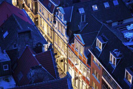 flemish region: Aerial view of a street in Ghent. Ghent, Flemish Region, Belgium. Stock Photo