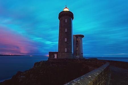 dark skies: Petit Minou Lighthouse. Plougonvelin, Brittany, France Stock Photo