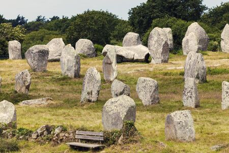 megalith: Carnac stones seen afternoon. Carnac, Brittany, France