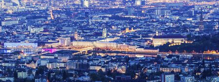 upper austria: Linz panorama at night. Linz, Upper Austria, Austria.