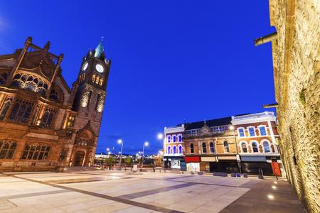Guildhall in Derry seen at night. Derry, Northern Ireland, United Kingdom.