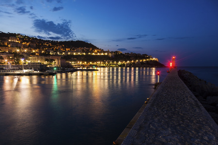maritimes: Nice Lighthouse at night. Nice, French Riviera, France.
