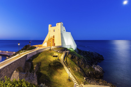 Truglia Tower in Sperlonga at night. Sperlonga, Lazio, Italy.