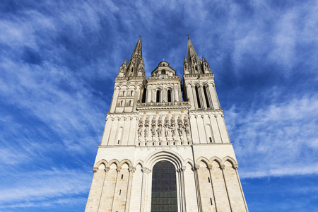 the loire: Angers Cathedral and beautiful sky. Angers, Pays de la Loire, France.