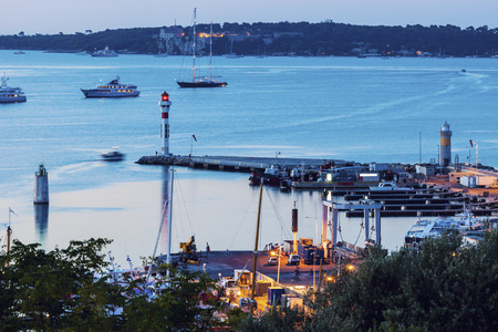 maritimes: Lighthouses in Cannes at evening. Cannes, Provence-Alpes-Cote dAzur, France Stock Photo