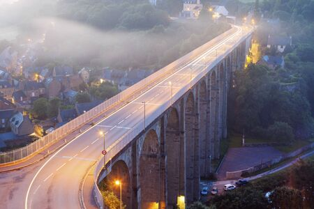 dinan: Bridge on Rance River in Dinan. Dinan, Brittany, France Stock Photo