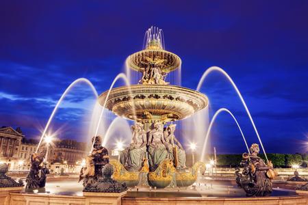 fontaine: Fontaine des Fleuves on Place de la Concorde in Paris. Paris, France Stock Photo