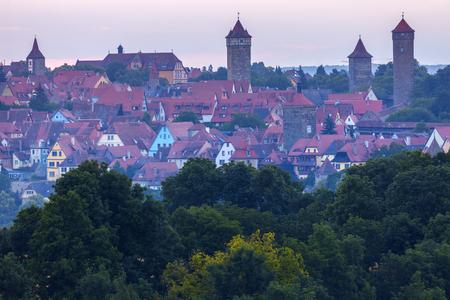 bayern old town: Panorama of Rothenburg at sunrise. Rothenburg, Bavaria, Germany