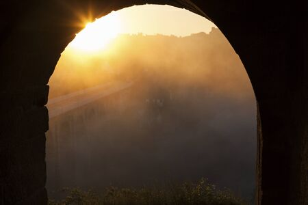 rance: Amazing sunrise in Dinan. Dinan, Brittany, France Stock Photo