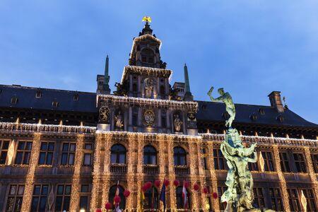 flemish region: City Hall of Antwerp at night. Antwerp, Flemish Region, Belgium Editorial