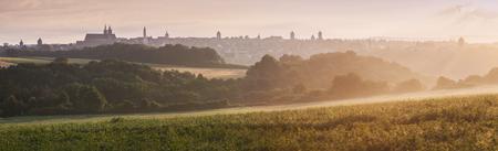 bayern old town: Panorama of Rothenburg at sunrise. in Rothenburg, Bavaria, Germany