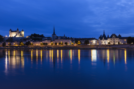 dark skies: Panorama of Saumur at night. Saumur, Pays de la Loire, France Editorial