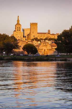 d'azur: Avignon Cathedral at sunset. Avignon, Provence-Alpes-Cote dAzur, France.