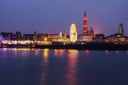 flemish region: Panorama of Antwerp across Scheldt River. Antwerp, Flemish Region, Belgium