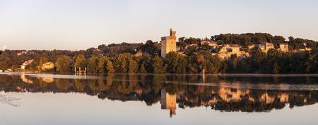 avignon: Architecture of Avignon along Rhone River. Avignon, Provence-Alpes-Cote dAzur, France.