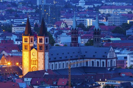 Wurzburg Cathedral at night. Wurzburg, Bavaria, Germany. Foto de archivo