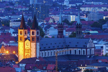 Wurzburg Cathedral at night. Wurzburg, Bavaria, Germany. Stok Fotoğraf