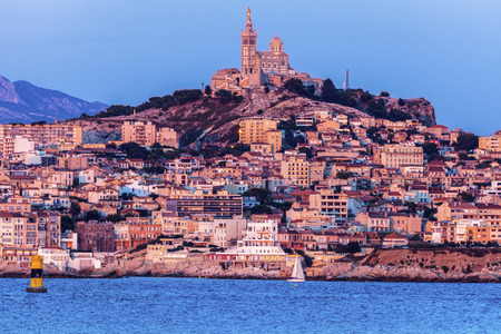 Marseille panorama from Frioul archipelago seen at sunset. Marseille, Provence-Alpes-Cote dAzur, France.