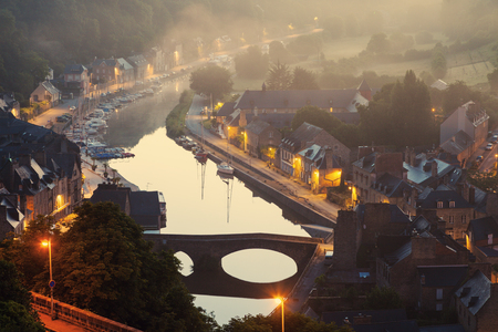 rance: Panorama of Dinan in the morning. Dinan, Brittany, France