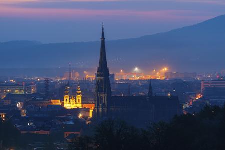 Linz panorama at sunrise. Linz, Upper Austria, Austria. Foto de archivo
