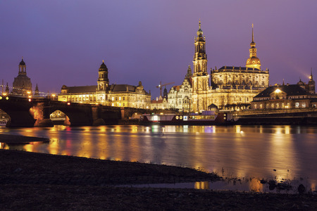 dresden: Dresden architecture across Elbe River. Dresden, Saxony, Germany. Editorial