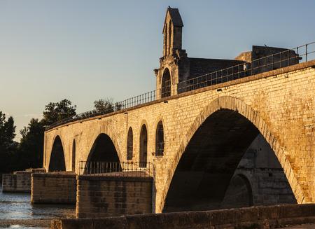 Pont Saint-Benezet on Rhone River in Avignon. Avignon, Provence-Alpes-Cote d'Azur, France.