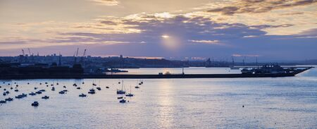 Panorama of Brest at sunrise. Brest, Brittany, France. Stock Photo