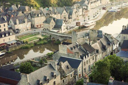 rance: Aerial panorama of Dinan. Dinan, Brittany, France