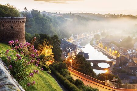 Panorama of Dinan at sunrise. Dinan, Brittany, France.