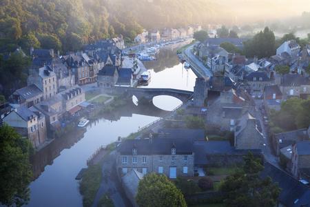 dinan: Panorama of Dinan at sunrise. Dinan, Brittany, France