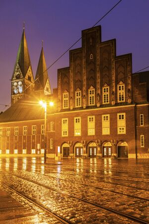 peter's: Rain by St. Peters Cathedral in Bremen. Bremen, Germany.