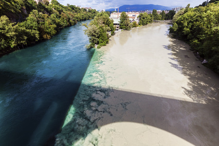 geneva: Confluence of the Rhone and Arve Rivers in Geneva. Geneva, Switzerland. Stock Photo