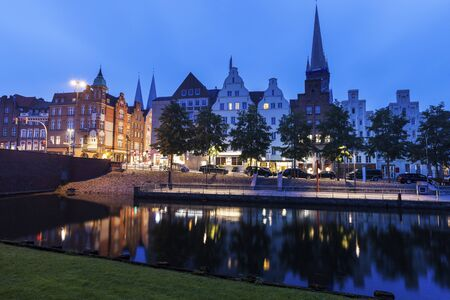 trave: Lubeck and Trave River. Lubeck, Schleswig-Holstein, Germany.