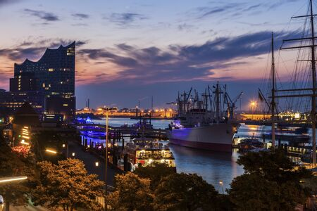Hamburg - panorama of the port at sunrise. Hamburg, Germany.