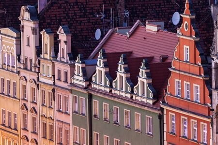 Old architecture of Market Square in Wroclaw - aerial photo. Wroclaw, Lower Silesian, Poland.