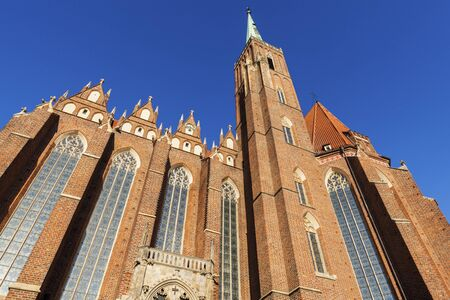 Wroclaw Cathedral and blue sky. Wroclaw, Lower Silesian, Poland.