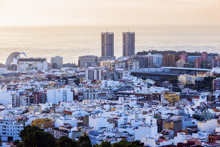 santa cruz de tenerife: Panorama of Santa Cruz de Tenerife at sunrise. Santa Cruz de Tenerife, Tenerife, Spain. Stock Photo