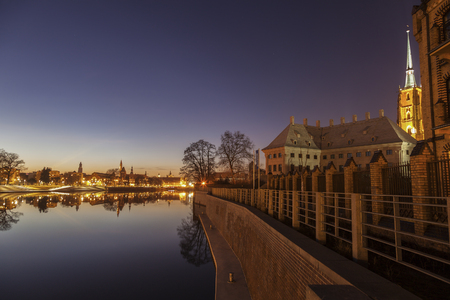 Old Town of Wroclaw - panorama across the river. Wroclaw, Lower Silesian, Poland. Stock Photo