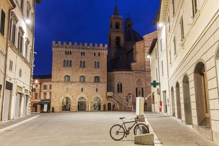 Architecture of Foligno at dawn. Foligno, Umbria, Italy.