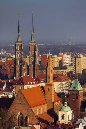 Wroclaw Cathedral - aerial view. Wroclaw, Lower Silesian, Poland. Stock Photo