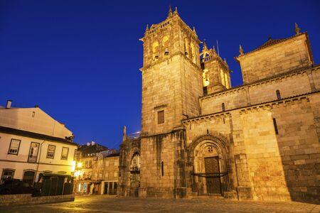 night dusk: Braga Cathedral at dawn. Braga, Norte Region, Portugal.