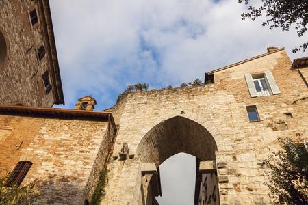 Arch gate in Perugia. Perugia, Umbria, Italy.