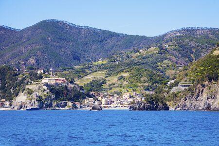 Monterosso architecture from the sea. Monterosso, Liguria, Italy. Stock Photo